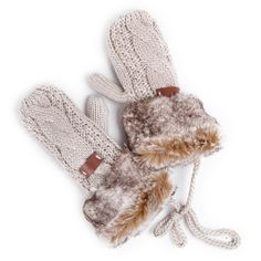 Aw 2014, Fall Winter, Autumn, Mountain Hiking, Mittens, Faux Fur, Gloves, Slippers, Beige