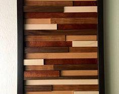 Arte de pared de madera, arte moderno, arte abstracto madera, arte de madera reciclada, escultura arte madera, arte de pared de madera, decoración para el hogar