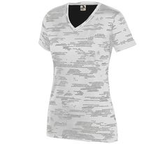1803. XS-XXL. 100% polyester wicking printed knit * Roller printed to reduce chance of dye migration * Ladies' fit * Wicks moisture away from the body * Self-fabric V-neck collar * Set-in sleeves * Double-needle hemmed sleeves and bottom