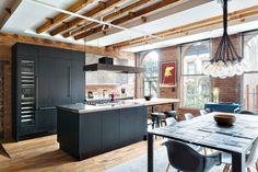pantry block Tall Kitchen Cabinets, Mott Street, Kitchen Photos, Kitchen Ideas, Industrial Style Kitchen, Two Bedroom Apartments, Loft, Building, Table