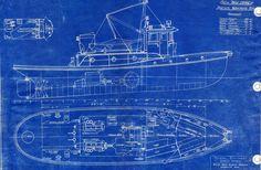 Blueprint Boat Wallpaper Wall Mural | MuralsWallpaper.co.uk