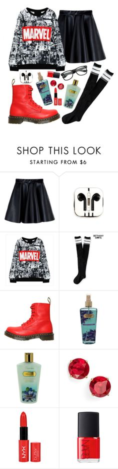 """""""Untitled #444"""" by emmapierce42 ❤ liked on Polyvore featuring MSGM, PhunkeeTree, Aéropostale, Dr. Martens, Victoria's Secret, Anne Klein and NARS Cosmetics"""