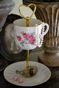 Jewelry Stand Jewelry Dish Tea Cup Jewelry Stand by SimplyChina, $18.00