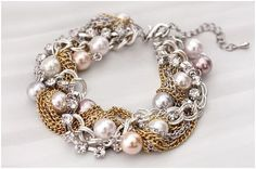 SALE Pearl Chain Twist Bracelet by basicpink on Etsy