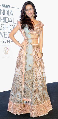 Bollywood fashion 502362533414268682 - Shraddha Kapoor looked ethereal in a beautiful pastel bridal lehenga at the logo launch of BMW India Bridal Fashion Week 2014 in New Delhi. Mode Bollywood, Bollywood Fashion, Bollywood Saree, Shraddha Kapoor, Sonakshi Sinha, Ranbir Kapoor, Priyanka Chopra, Deepika Padukone, India Fashion
