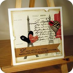 Hearts, hot-air balloon and Eiffel Tower love / valentine's day scrapbooking card. // Carte scrap amou / Saint Valentin Tour Eiffel, coeurs et montgolfière. // See more at / Voir plus sur : http://scrap-ines.over-blog.com