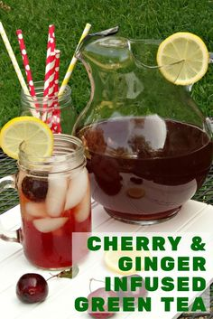 Cherry and Ginger Infused Green Tea. Made with copious amounts of sweet, fresh cherries, a few slivers of fresh ginger, a squeeze of  lemon juice, a splash of vanilla and Bigelow Green Tea. #ad #TeaProudly