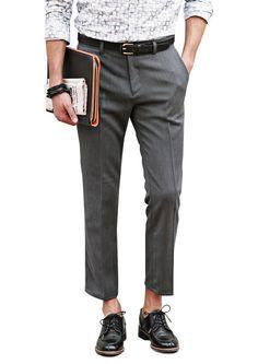 20599d160ec04 Doublju Mens casual slim straight ankle pants  doublju