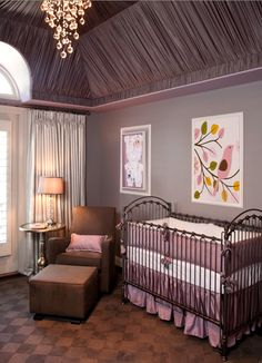 vaulted ceilings, grey walls, sweet floor and a bird on a branch. this is a pretty cute lil nursery!