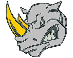 Angry Rhino 8' | Applique Machine Embroidery Design or Pattern