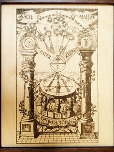 Pillars of Hermeticism & Alchemy Framed Laser Etching by High12Art. Detailed explanation of symbols on the Etsy site.