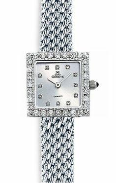 Euro Geneve 14K White Gold Square Ladies' Diamond Watch With Mesh Band-47659 | WatchCorridor