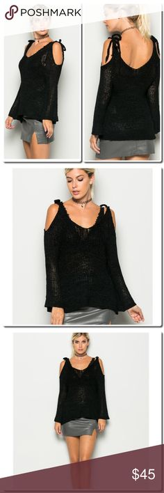 """⚡️FLASH SALE⚡️Open Shoulder Crochet Top FABRIC: 60% POLYURETHANE / 40% NYLON  RELAX FIT SEE THROUGH DETAIL SELF-TIE CLOSURE MODEL IS 5`10``, BUST 32""""B, WAIST 24"""", HIPS 34"""" AND WEARING A S/M SizeS.MM.L Sweaters"""