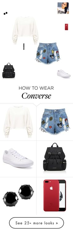 """The weekend"" by synclairel on Polyvore featuring Disney Stars Studios, Miss Selfridge, Converse, Burberry, West Coast Jewelry, NARS Cosmetics, cute, casual and ootd"
