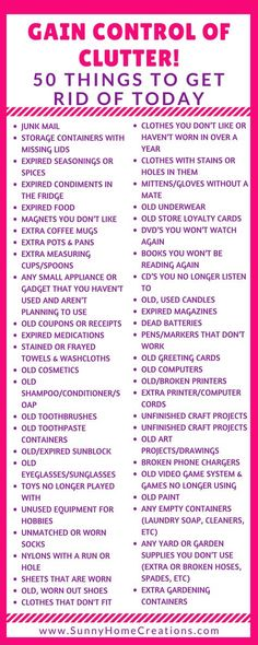 Decluttering Tips - 50 Items to Get Rid Of Today! Gain control over your clutter! 50 Things to get rid of today! You can throw these out, sell them for some easy extra cash or donate these items to so House Cleaning Tips, Spring Cleaning, Cleaning Hacks, Cleaning Checklist, Diy Hacks, Cleaning Schedules, Cleaning Supplies, Planners, Clutter Control