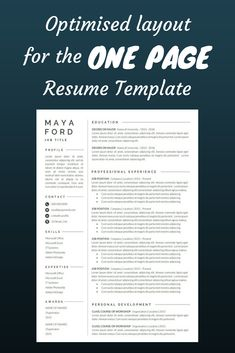 This is our ONE PAGE resume template! We carefully crafted the optimised layout ---CLICK IMAGE FOR MORE--- resume how to write a resume resume tips resume examples for student Job Resume, Best Resume, Resume Tips, Free Resume, Cv Tips, Resume Help, Resume Skills, Resume Review, College Resume