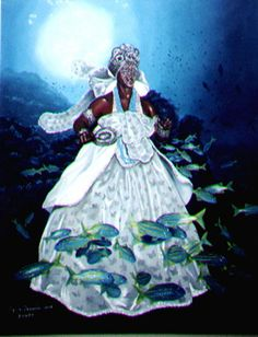 Yemanjá -- Yemaya is the life-giving portion of the ocean. This is the area of water near the coasts and around coral reefs and such (most of the open and deep-water ocean is mostly barren and that belongs to a male Orisha, Olokun). In many stories, Yemaya gave birth to everything. Her name has multiple spellings (Yemoja, Yemonja, Yemanya, Iemonja, etc.).