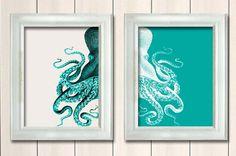 Set of 2 Octopus Prints Green And White, Nautical Print Beach Decor bathroom Decor Nautical Decor Wall Art Beach House Decor Octopus Picture on Etsy, $25.00