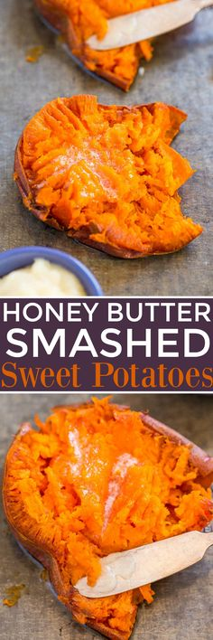 Honey Butter Smashed Sweet Potatoes - Soft, tender potatoes with crispy skin and the most HEAVENLY melted honey butter on top! EASY comfort food that's a perfect side dish anytime! Vegetable Side Dishes, Vegetable Recipes, Smashed Sweet Potatoes, Soft Foods, Sweet Potato Recipes, Sweet Potato Toppings, Side Dish Recipes, Food Dishes, Potato Dishes