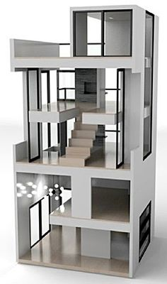 dollhouse by Brica Dada - The Bennett House is inspired by the De Stijl movement of the early 20th century.