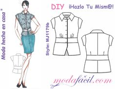 Short sleeve and waistband blouse templates Doll Clothes Patterns, Clothing Patterns, Top Pattern, Bohemian Style, Jackets For Women, Give It To Me, Tunic, Couture, Female