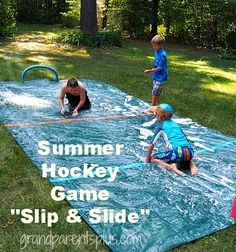 """Summer Hockey Game """"Slip and Slide"""" Version Fun for Kids of All Ages Outside Games For Kids, Outdoor Fun For Kids, Diy For Kids, Kids Fun, Backyard Games, Outdoor Games, Lawn Games, Backyard Ideas, Summer Games"""