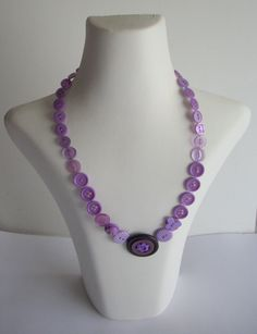 Button NecklacePurple/ Mauve tones by neca84 on Etsy,