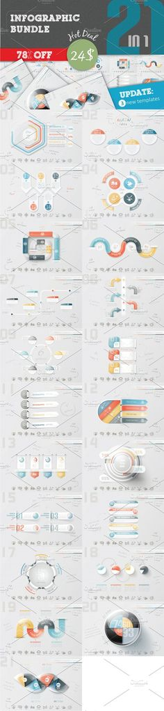 78% OFF Infographic Bundle (21 in 1) by Infographic Paradise on @creativemarket