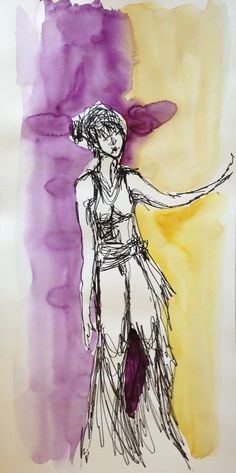 Acrylique paint, ink. Quick drawing on music with a dancer. 1 Saturdaymorning per month in a French village Châteauneuf Val de Bargis.