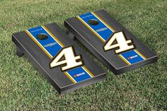 NASCAR #4 Kevin Harvick Cornhole Board set with 8 Corn Hole Bags- Busch Onyx Stained Version
