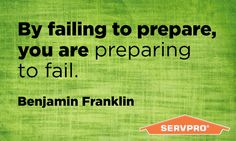 SERVPRO is no stranger to preparation. We encourage you to put the proper steps in place should an emergency arise. Need help? Call us today to set up an Emergency Ready Plan! #MotivationalMonday