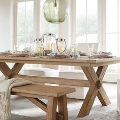 """Laid back coastal luxury is the name of this game!  The Toscana Table in seadrift is the perfect combination of minimal design and functionality.  Beautifully crafted to include extendable leaves on either side, it's perfect for a small space but can entertain """"big""""! #smartdesign #coastal #beachlife #mypotterybarn"""