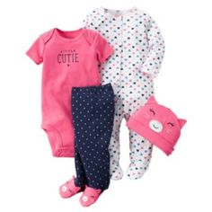 Carter's Baby Girls' 4 Piece Layette Set (Baby) - Little Cutie-Newborn: Carter's 4 Piece Layette Set (Baby) Carters Baby Clothes, Carters Baby Girl, Cute Baby Girl, Baby Kids Clothes, Carters Clothing, Baby Outfits, Outfits Niños, Baby Set, Girls Dress Up