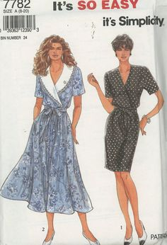 Simplicity Misses' Slim or Flared Dress With or Without Collar and Tie Belt Pattern 7782  Sizes 8-20 UNCUT