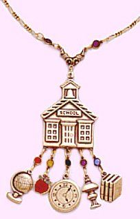 Antiqued Look Style School Charm Necklace Crystal « teacher gift #TeacherAppreciation