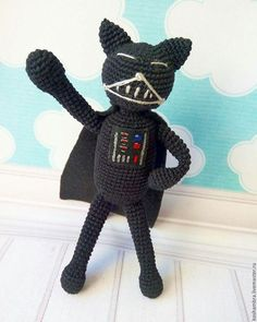 Toy Miniatures handmade. Livemaster - handmade. Buy Cat Amineko Darth Vader.Black, umineko, fan, felt sheet