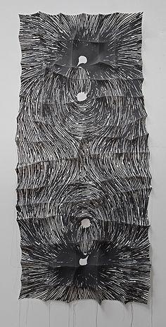 "'jaryu'  2012  51' X 24"" X 2"" industrial felt, digitally engineered image, silkscreen printing, hand stitching"
