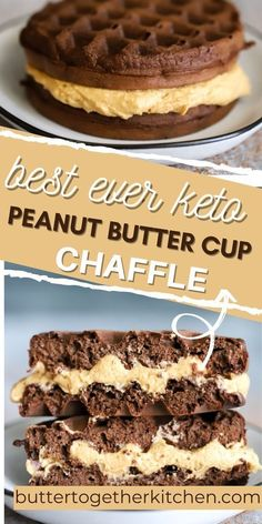 This easy homemade Keto Peanut Butter Cup Chaffle from Butter Together Kitchen is the perfect sweet treat chaffle when you're craving peanut butter! You will love the classic chocolate and peanut butter recipe combined in this sweet keto chaffle! Make this today for dessert or a snack! You will love this super easy recipe! Whipped Peanut Butter, Peanut Butter Dessert Recipes, Desserts Keto, Chocolate Peanut Butter Fudge, Peanut Butter Filling, Sugar Free Desserts, Chocolate Desserts, Keto Recipes, Homemade Peanut Butter Cups