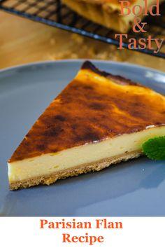 A recipe is for a Parisian Flan, also known as French Custard Pie. #parisianflan #custardpie #frenchcustardpie #custard #dessert #recipe #foodblog #boldandtasty Flan Dessert, Custard, Tart, Almond, Food And Drink, Pie, Vegetarian, French