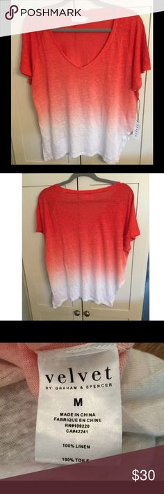 """Velvet by Graham & Spencer Coral Dip Dye Shirt This shirt has a gradient of reddish oranges, or coral. Vented sides. Pit to pit flat 22"""" (item is Knit and stretchy) Back mid neck down front 24"""". Velvet by Graham & Spencer Tops Tees - Short Sleeve"""