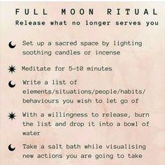 new moon ritual Free idea New Moon Rituals, Full Moon Ritual, Full Moon Spells, Full Moon Meditation, Reiki, Les Chakras, Sup Yoga, Magick Spells, Pagan Witchcraft