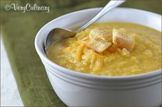 Post image for Creamy Cauliflower Cheddar Soup and a Pacific Foods Broth Giveaway! Cauliflower Cheddar Soup, Parmesan Roasted Cauliflower, Creamy Cauliflower, Kielbasa, Bowl Of Soup, Soup And Salad, Soup Recipes, Cooking Recipes, Lunch Recipes
