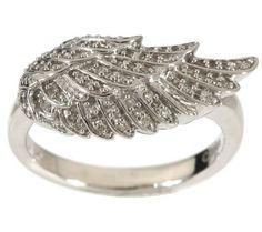 QVC Diamond/Sterling Angel Wing Ring