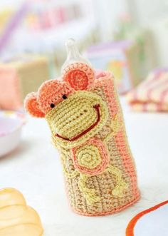 Crochet baby bottle cosy/ FREE CROCHET pattern/ cozy for your little monkey