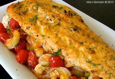 Stuffed Baked Salmon (Mia's Domain - All Time Top Salmon Recipes, Fish Recipes, Seafood Recipes, Salmon Food, Seafood Meals, Salmon Dinner, Fish Dishes, Seafood Dishes, Fish And Seafood