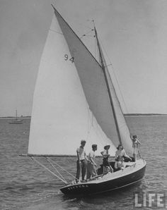 The Kennedys sailing their Wianno Senior 'Victura' during the summer of 1940 on Cape Cod.