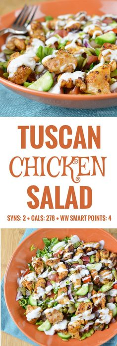 Slimming Eats Tuscan Chicken Salad – gluten free, Slimming World and Weight Watchers friendly – Healty Smoothies Slimming World Salads, Slimming World Lunch Ideas, Slimming Eats, Slimming Recipes, Slimming Workd, Slimming World Puddings, Slimming World Chicken Recipes, Diet Lunch Ideas, Lunch Recipes