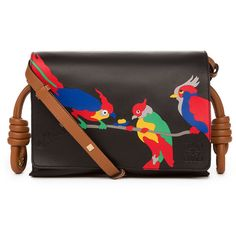 Loewe Flamenco Flap Parrots Shoulder Bag (129.365 RUB) ❤ liked on Polyvore featuring bags, handbags, shoulder bags, black, handbags shoulder bags, shoulder handbags, man bag, genuine leather purse and hand bags