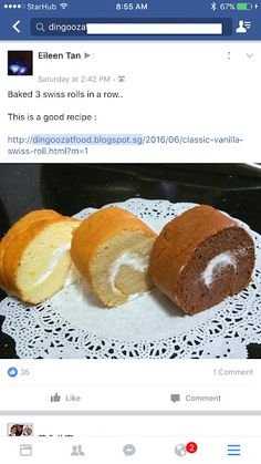 Cake Receipe, Cake Roll Recipes, Vanilla Swiss Roll Recipe, Asian Cake, Biscuit Bread, Bread Cake, Pudding Cake, Rolls Recipe, Cream Recipes