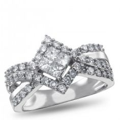 NK Mosaic Diamond Collection, 14K White Gold Diamond Engagement Ring, 1.00 ctw.